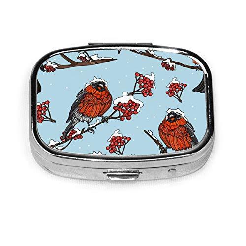 Japan Bullfinches On Cherry Branches Custom Fashion Silver Square Pill Box Medicine Tablet Holder Wallet Organizer Case For Pocket Or Purse Vitamin Organizer Holder Decorative Box
