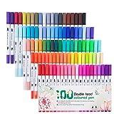 Stylo Aquarelle 100 Couleurs Feutres Pinceaux Art Aquarelle Brosse Pointe stylos Dual Brush Pen pour Livres de Peintures Calligraphies Bullet Journal des Adultes et Enfants