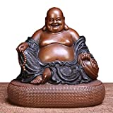 Feng Shui Pure Copper Big Belly Cloth Bag Maitreya Buddha Lucky Decoration Craft Collection Gift
