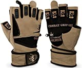 Weightlifting Gloves for Crossfit Workout Training - Fitness Gym Bodybuilding Gloves for Men or Women - Best for Heavy Weight Lifting Exercise Integrated W. Full Wrist Support Wraps (Desert Tan, S)