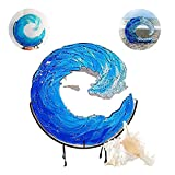 Ocean Wave Fused Glass Sculpture, Creative Gradient Blue Wave Sculpture Ornament Decoration, Resin Desktop Blue Wave Sculpture, Glass Wave Sun Catcher (12in)