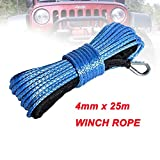Eslinga 4 mm x 25 m sintética del Torno línea de Fibra Cuerda de Remolque Cable Accesorios del Coche for 4X4 / ATV/UTV / 4WD / Off-Road Portabicicletas (Color Name : Blue)