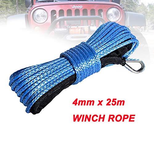yingweifeng-01 Cuerda de cabrestante 4 mm x 25 m sintética del Torno línea de Fibra Cuerda de Remolque Cable Accesorios del Coche for 4X4 / ATV/UTV / 4WD / Off-Road (Color Name : Blue)