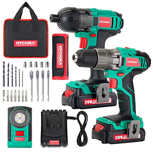 Cordless Drill Driver 20V Max 330 In-lbs and Impact Driver, HYCHIKADrill Combo Kit, 2x1.5Ah Batteries, 1H Fast Charging, LED Flashlight, 22PCS Accessories for Drilling Wood, Metal and Plastic