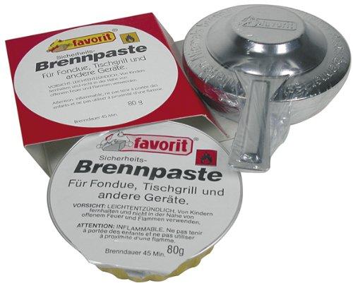 Favorit Brenner Set; geeignet für Fondues, heiße Steine, etc.; mit Brennpaste, reiner Bio-Alkohol; verbrennt rußfrei - 1808