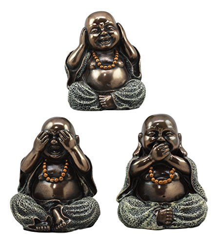Gifts & Decor Ebros Small Charm Wise See Hear Speak No Evil Lucky Buddha Statues 4' Tall Bodhisattva Eastern Enlightenment Hotei Figurines