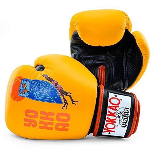 YOKKAO - Guanti da boxe Muay Thai in pelle traspirante, 453,6 g, colore: Giallo
