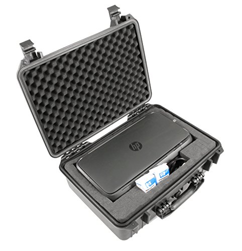 CASEMATIX Waterproof Portable Printer Case Fits Officejet 250, Ink and Small Cables - Customizable Crushproof Travel Case for Wireless Mobile Printer