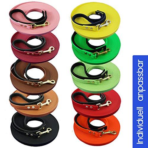 Schleppleine Hundeleine 10m - 12 bis 19mm breit aus Biothane I Leine für kleine und große Hunde - wasserabweisend I 28 Farben - individuell anpassbar