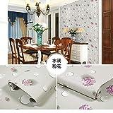 LZYMLA - Papel pintado autoadhesivo de PVC, para dormitorio, sala de estar, habitación de los niños, decoración de gabinete, impermeable, fondo de pared, diseño de flores rosas, 60 cm x 5 m