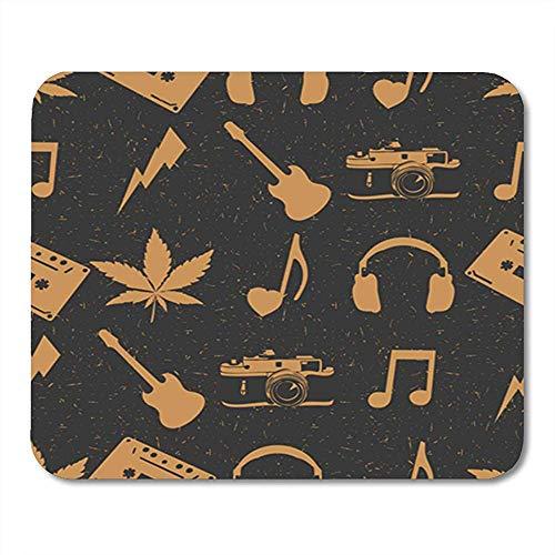 Gaming Mouse Pad Hippie Marihuana Leaves Kopfhörer Alte Kamera Herz Gitarre Musik Note Office Backing Mousepad Mauspad