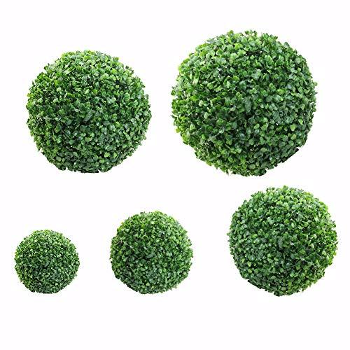 Stecto Bolas Artificiales de Boj Esfera Decorativa Boj Premium Artificial sin decoloración Bola de Planta Verde para la decoración casera del Banquete de Boda, 30cm