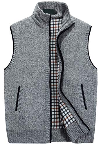 chouyatou Men's Gentle Band Collar Zipper Slim Sleeveless Cable Knitted Cardigan Vests Sweater (X-Small, Light Grey)