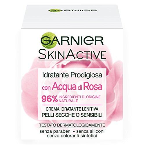 Garnier Crema Viso Idratante Lenitiva SkinActive, Ottima per Pelli Secche o Sensibili, Arricchita con Acqua di Rosa, 50 ml, Confezione da 1