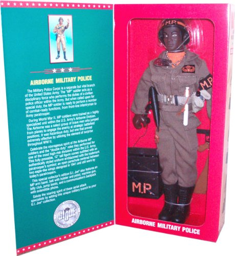 G.I. Joe 1996 Limited Edition Collector's Special Individually Numbered 12 Inch Tall Soldier Action Figure - Airborne Military Police with MP Arm Band, Belt with Holster and Pistol, Machine Gun, Billy Club, Jump Boots, Canteen with Holder, and a Communication's Backpack with Extendible Phone (African American Version)
