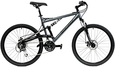 2020 Gravity FSX 1.0 Dual Full Suspension Mountain Bike with Disc Brakes, Shimano Shifting (Gray, 15in)