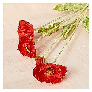 Artificial flower plant decoration Poppy Flower, Small Poppy Flower, Silk Flower, Idyllic Wedding Simulation Flower, Wedding Home Decoration Flower for Artificial Ceiling Image Lifelike Fake Flower (B