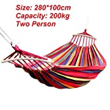 Bhaguji Extra Long and Wide Double Hammock for Travel Camping Backyard, Porch, Outdoor or Indoor Use, Carrying Pouch (280 * 100CM Wooden Strip RED Load 200KG)