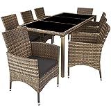 TecTake 800798 Conjunto de ratán, Muebles de jardín de poliratán, Mobiliario Exterior de ratán sintético, Juego de Mesa y sillas para el Patio (Natural)