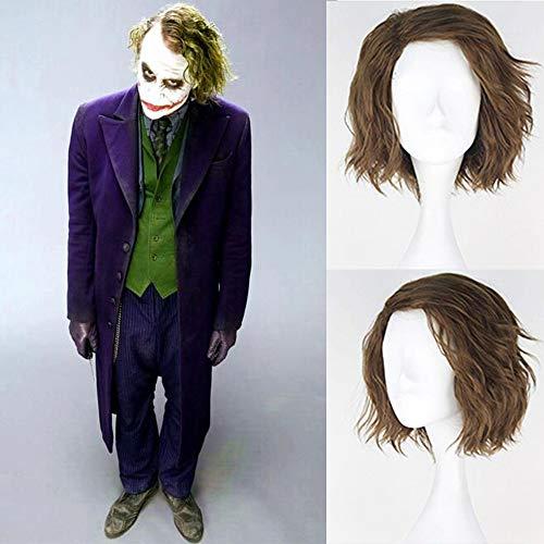 Royalvirgin Cosplay-Perücke Der Joker, Kunsthaar, kurz, flauschig, gelockt, für Herren, flachsgrüne Farbe, für Partys, Cosplay, Kostüm, Halloween