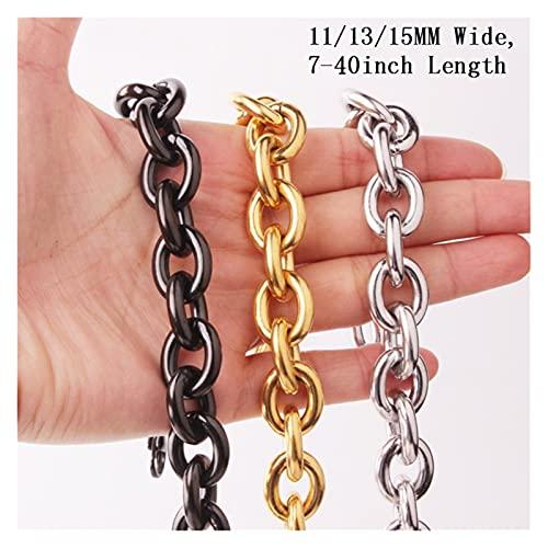 YANGY Ancho/11/13/15 MM 316 Alambre de Acero Cadena Rolo Enlace Collar para Hombres y Mujeres o de la joyería de la Pulsera 7-40 Pulgadas (Color : 9.5inch Bracelet)