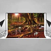 EARVO おとぎ話の森の背景 7 x 5フィート 小さな妖精 馬 写真背景 ジャングルアドベンチャーテーマ パーティー コットン背景 スタジオビデオ小道具 EADS352