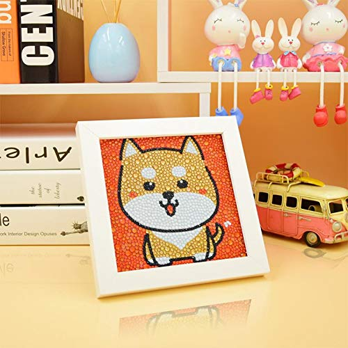 Akita Dog Diamond Painting, Kids Full Drill Painting by Number Kits Arts Crafts Supply Set,Gift for Kids, Rhinestone Mosaic Making for Home Decor, 6x6inch -Include Wooden Frame