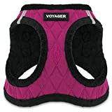 Voyager Step-In Plush Dog Harness – Soft Plush, Step In Vest Harness for Small and Medium Dogs – By Best Pet Supplies - Red Rose Plush, Medium (Chest: 16' - 18')