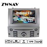 ZWNAV Android 9.0 Reproductor de DVD de navegación estéreo GPD para Peugeot 407 2004-2010 con Europa 49 Tarjeta de Mapeo de País SD