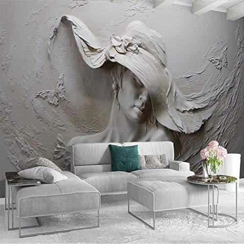 3D-behang, stereo, reliëffiguren van beton, sculptuur, fotobehang, Europese stijl, vintage-stijl, woonkamerdecoratie, 3D-wanddecoratie 300cm (W) x 210cm (H)