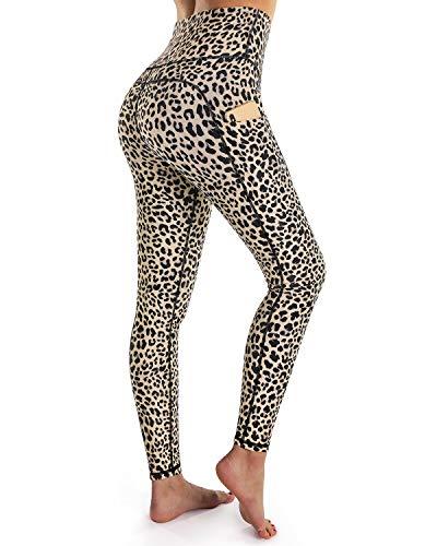 OUGES Womens High Waist Pockets Yoga Pants Running Pants Workout Leopard Leggings (Leopard,S)