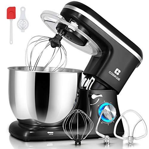 COSVALVE Küchenmaschine Knetmaschine 1400W, 7L Edelstahlschüssel mit Rührbesen, Knethaken, Schlagbesen, Spritzschutz, 6 Geschwindigkeit mit Geräuschlos Teigmaschine (Schwarz)