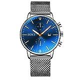 Simple Mesh Band Relojes para Hombres Reloj de Vestir de Cuarzo Relojes para Hombres Calendario Reloj de Pulsera de Acero Inoxidable Completo Hora