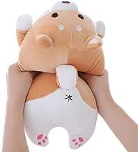 Shiba Inu Dog Plush Pillow, Cute Soft Corgi Stuffed Animals Doll Toys Gifts for Valentine, Christmas, Birthday, Bed, Sofa Chair (Brown Round Eye, 13.5in)