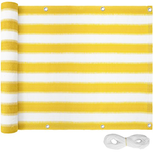TecTake Balkon-Sichtschutz | Balkonbespannung | Witterungsbeständig und Wasserabweisend Größen (Gelb-Weiß | 600x75 cm | no. 402877)