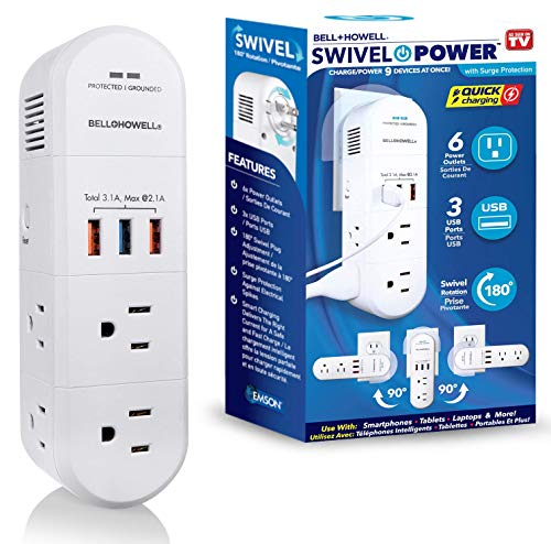 Swivel Power by Bell+Howell Power Strip Rapid Charging Station USB Outlet Extender with Surge Protection –180 Degree Swiveling Design to Ease Access with 6 Electrical Outlets 3 USB Port As Seen On TV