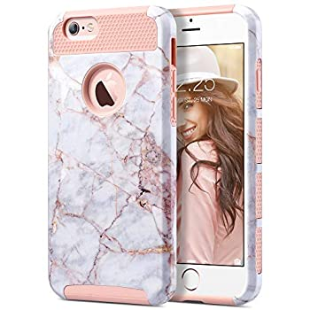 ULAK iPhone 6s Case iPhone 6 Case Colorful Series Slim Hybrid Dual Layer Scratch Resistant Back Cover Shock Absorbent TPU Bumper Case for Apple iPhone 6 6s 4.8 inch Pink Marble