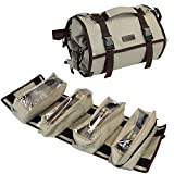 ZORMY Large Tool Roll Organizer, Roll Up Pouch Bag Zipper Wrench Tool Roll Up Bag with Adjustable Strap, Tool Organizer Carrier Bag - 4 Removeable Handy Small Tools Bag