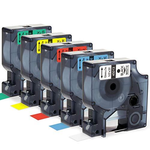 Airmall kompatible Etikettenband als Ersatz für Dymo Schriftband 12mm x 7m Schwarz auf Weiß/Blau/Rot/Gelb/Grün Selbstklebend kompatible für Dymo LabelManager 160 210D 220P 260P 280 360D 420P 450 Duo