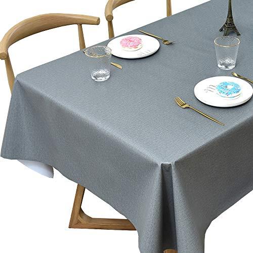 Plenmor PVC Tischdecke Rechteckig für Küche Esstisch Kunststoff Wischtuchreinigung Tischdecke für Indoor Outdoor (137 x 185 cm, Grey)