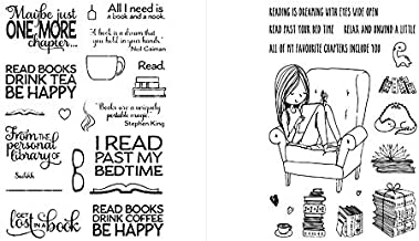 2 PCS Stamps Girl Reading on Sofa All I need is a Book and Hook Book Themed Clear Stamp for Card Making Embossing Stencil Templates for crafts Photo Album Decor