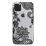 Keyihan Custodia Cover per iPhone 11 Motivo floreale di stampa Transparent Morbido TPU antiurto Protettiva Bumper Caso per Apple iPhone 11 (6,1 Pollici 2019)(Fiore di pizzo nero)