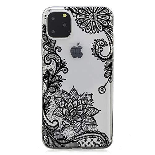 Keyihan Cover per iPhone 11 (6,1 Pollici ) Custodia Antiurto Motivo floreale di stampa Transparent Morbido TPU Protettiva Bumper Caso per Apple iPhone 11 (Fiore di pizzo nero)