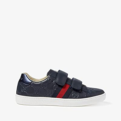 Gucci Kids New Ace V.L. Sneakers (Little Kid/Big Kid) (Midnight Blue/Bord) Kids Shoes