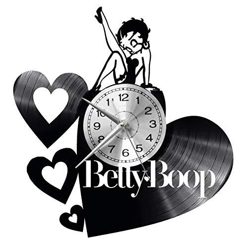 WoD Betty Boop Wanduhr Vinyl Schallplatte Retro-Uhr groß Uhren Style Raum Home Dekorationen Tolles Geschenk Uhr