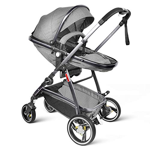 Newborn Stroller for Baby with Triple Anti Shock Spring - Besrey Convertible Bassinet Stroller Luxury Pram Single Baby Carriage, Gray