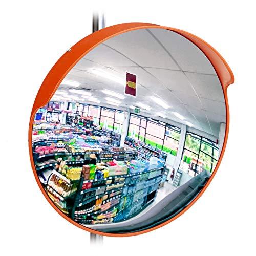 Relaxdays 10028417 Specchio Convesso Sicurezza 45 cm, Professionale, Infrangibile, da Interno, con Supporti per la Parete, Rosso