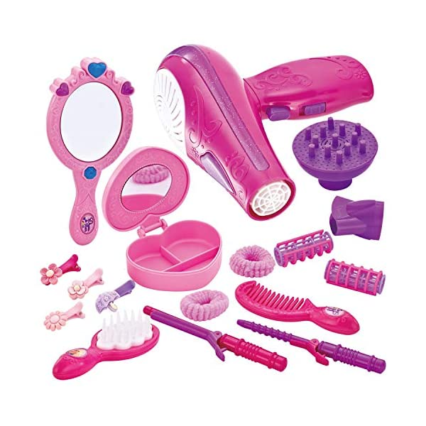 JOYIN Cute Little Girls Doll Beauty Fashion Salon Toy Kit Pretend Play Set with Toy Hairdryer, Mirror and Other Accessories