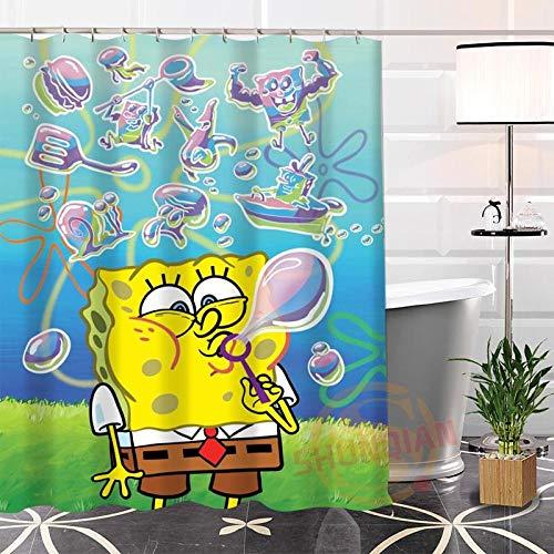 YUJEJ801 Lustiger Spongebob Duschvorhang 180x180 Anti-Schimmel & Wasserabweisend Shower Curtain mit 12 Duschvorhangringen 3D Digitaldruck Farben Bad Vorhang für Badzimmer Dekorieren