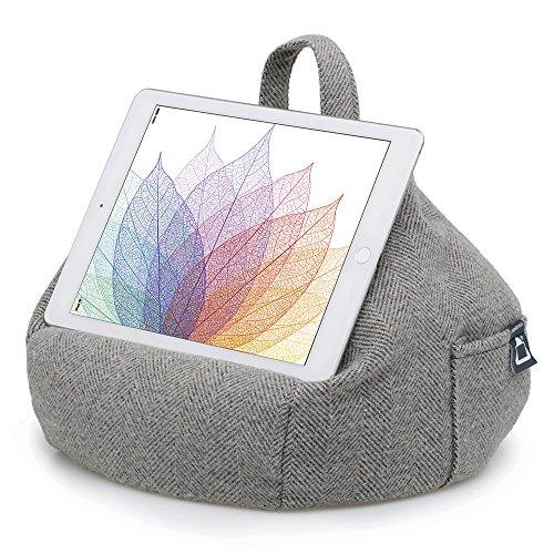 iBeani - Sostegno/Cuscino Sacca/Appoggio Supporto per iPad, Tablet e eReader, per Tutti i Dispositivi - Spina di Pesce Grigia